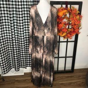 Zara Brown Snakeskin Button Front Maxi Dress O14